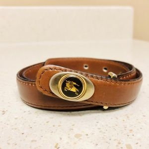 Vintage Burberry Leather Logo Buckle Belt